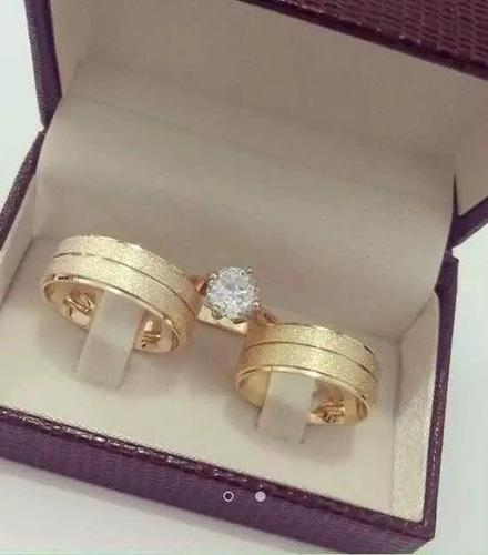 par de alianças cor ouro moedas antigas + frete + anel