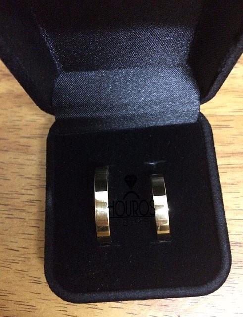 720cb1d1577 Par De Alianças De Ouro 18k 5g 4mm Quadrada Polida Casamento - R ...