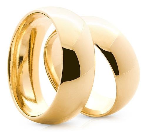 par de alianças de ouro 18k 6mm 8 gramas casamento