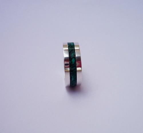 par de alianças de prata e pedras naturais malaquita 8 mm