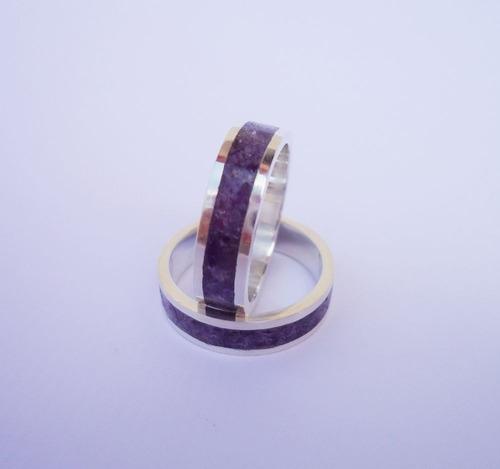 par de alianças de prata pedra natural ametista modelo 5 mm