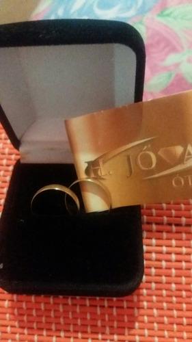 par de alianças em ouro 18 kilates, garantia h jóias.