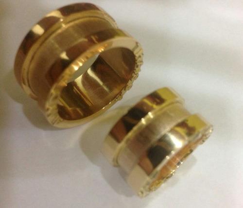 par de alianças em ouro 18 kl 750.