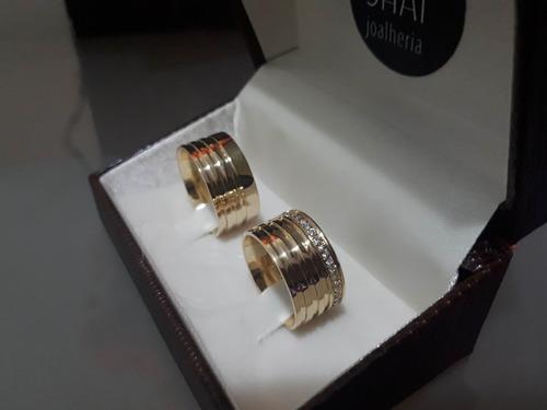 par de alianças em ouro 18k  10mm anatômicas