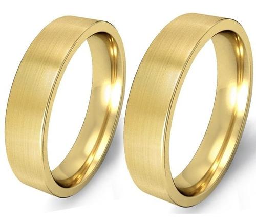 par de alianças em ouro 18k 12 gramas 5mm - reta - fosca