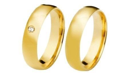 par de alianças em  ouro 18k, 4mm, com 1 brilhante, 6 grama