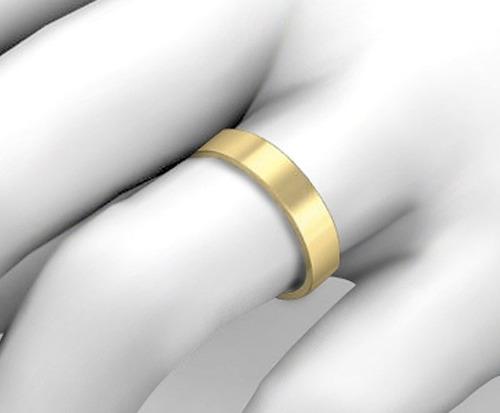 par de alianças em ouro 18k 8 gramas 5mm - reta - fosca