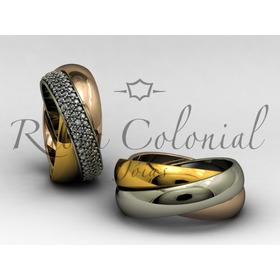 Par De Alianças Em Ouro 18k E Diamantes. 3 Cores De Ouro.