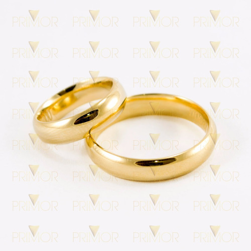 par de alianças em ouro lótus tradicional e abaulada al017