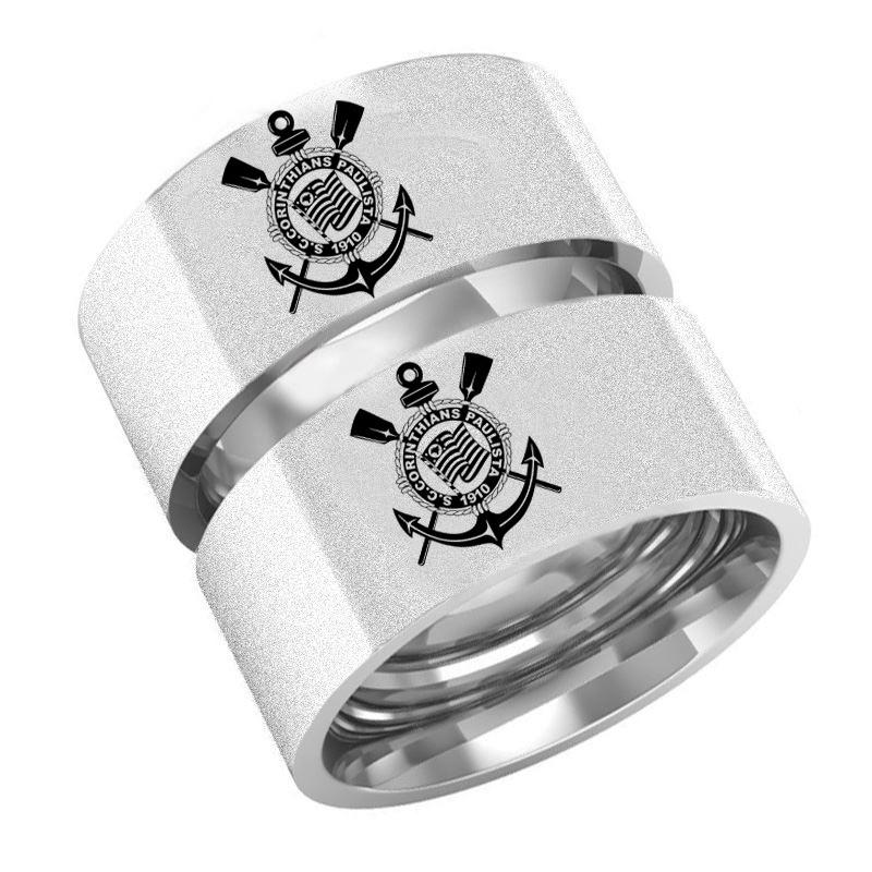 e2c82ad2af6 Par De Alianças Em Prata Com Emblema Do Corinthians (timão) - R  249 ...