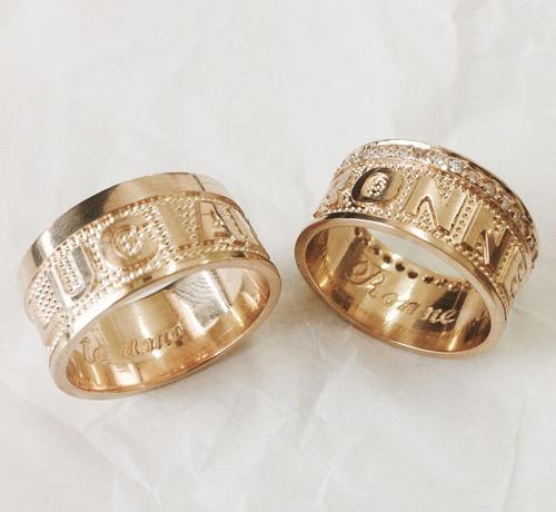 par de alianças escrita com diamantes ouro 18k