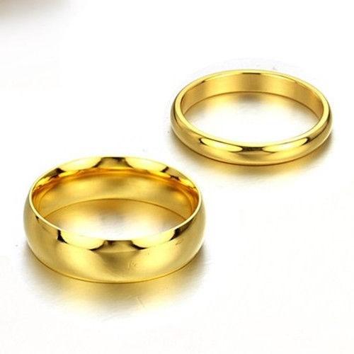 par de alianças noivado / compromisso folheadas a ouro 18k