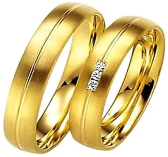 8abc605fde4e7 Par De Alianças Ouro 18k 4mm Abaulada De 5gr Com 3 Diamantes - R ...