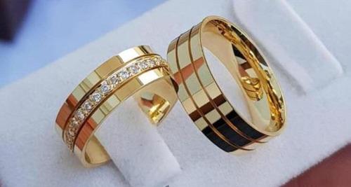 par de aliancas ouro 18k 6mm casamento noivado