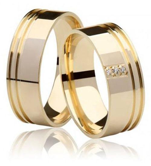 b1d6e9a5d8a0c Par De Alianças Ouro 18k 7mm Reta Anatômica 12gr 3 Diamantes - R ...