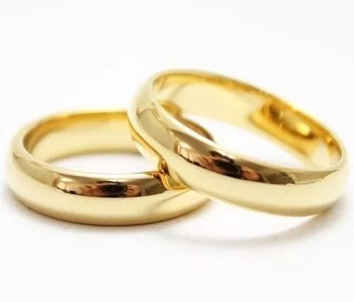 par de alianças ouro 18k banhada tradicional tungstênio 6mm
