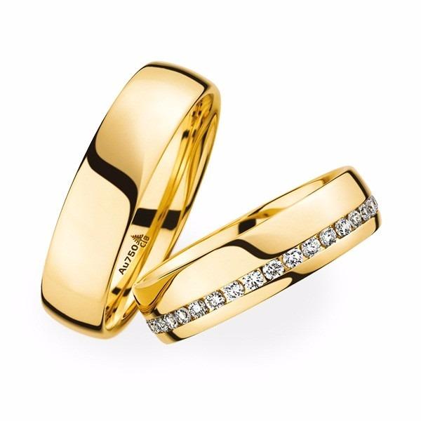 ebc7874d092ca Par De Alianças Ouro 18k De 6mm Abaulada 12gr E 40 Diamantes - R ...