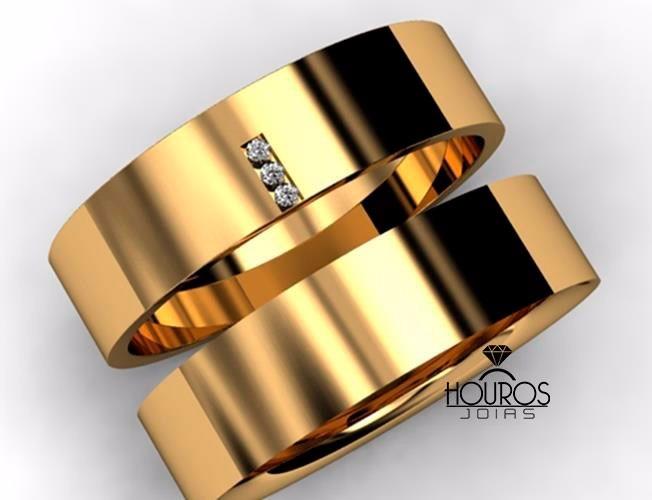 8bd1b923104 Par De Alianças Reta 14g 7mm 3 Brilhantes Ouro 18k 750 - R  2.999