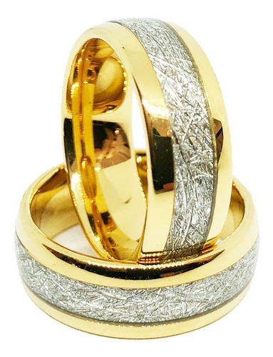 par de alianças tungstênio 8mm banhado ouro 18k diamantada