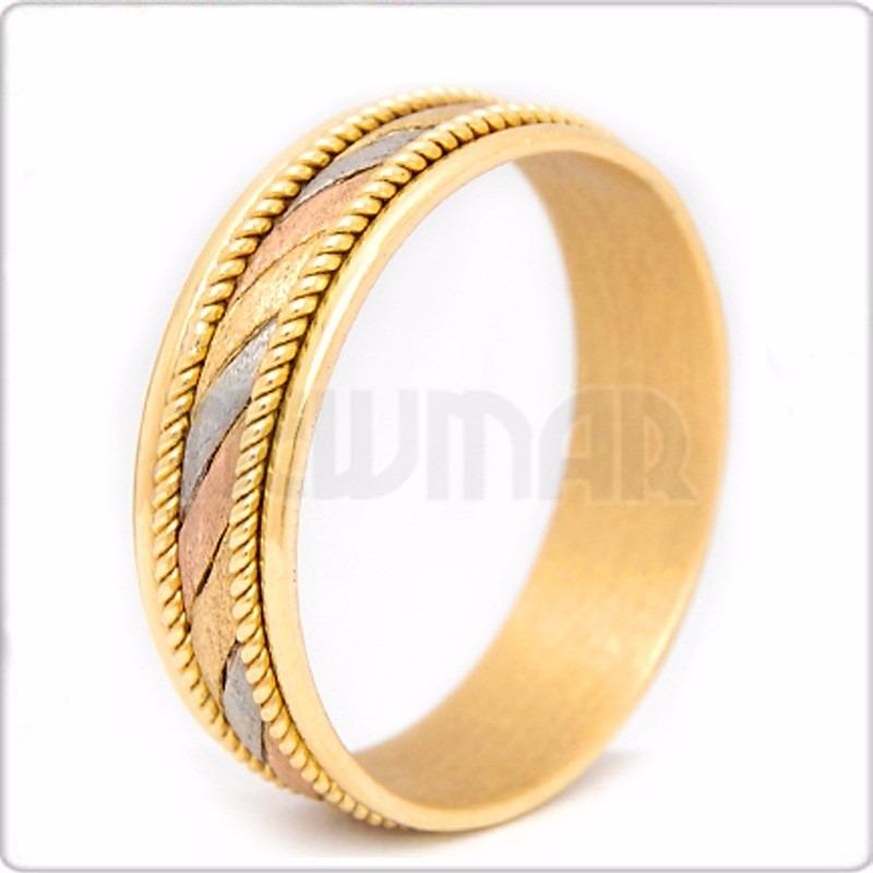 par de alianzas de oro 18 ktes tricolor en 10 gramos - sm46