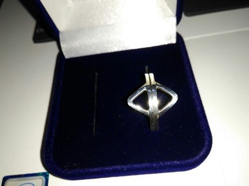 par de anel triângulo em prata 925
