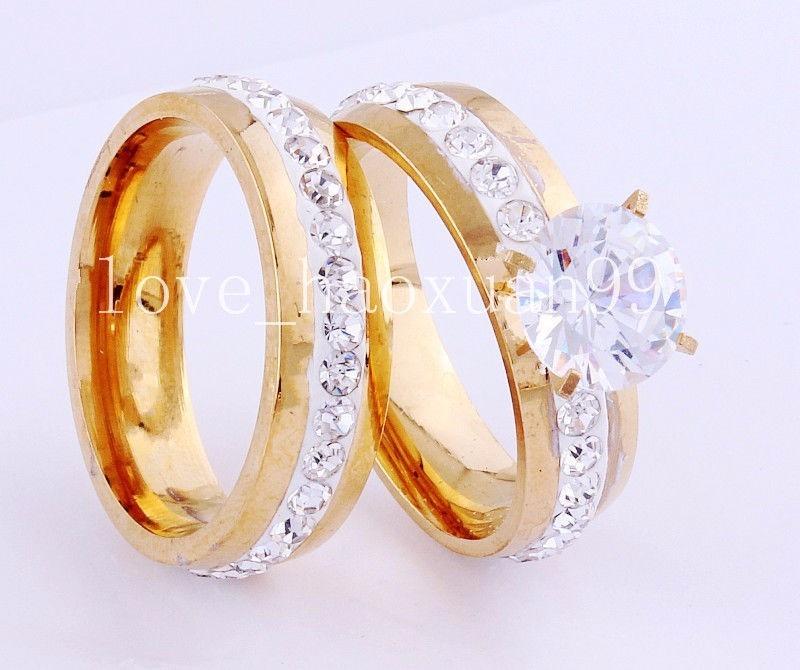 Par de anillos ba o de oro 18k compromiso boda o - Bano de oro precio ...