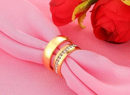par de anillos de compromiso pareja acero inoxidable dorados