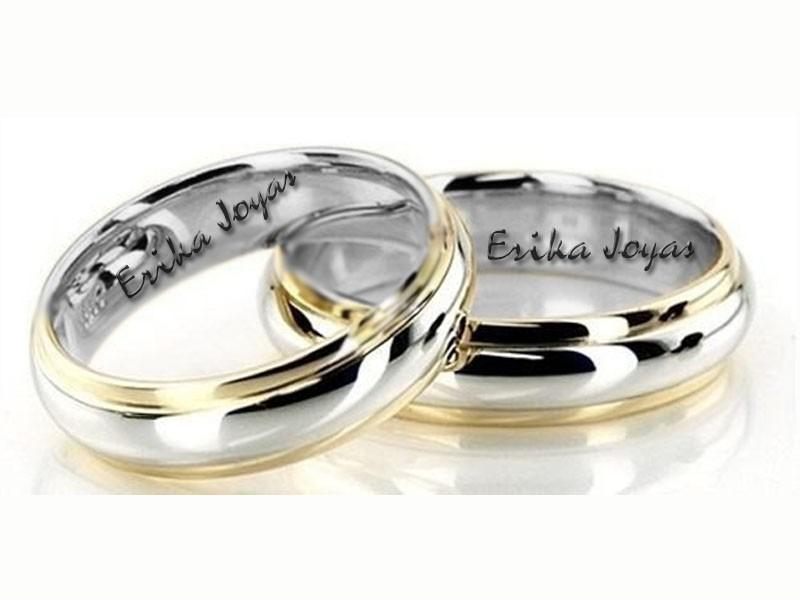 Par De Anillos Matrimonio Plata Y Oro 10k