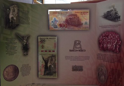 par de billetes conmemorativos de mexico