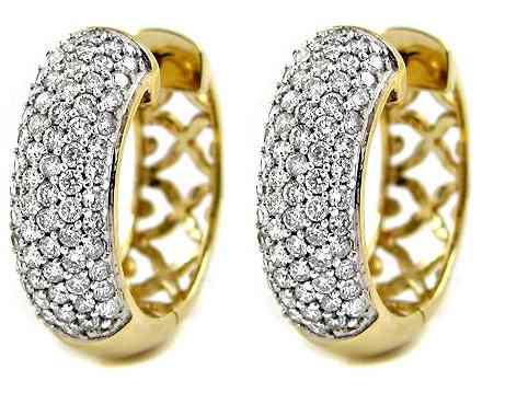 Par De Brincos Argola Em Ouro Amarelo 18k!e Diamantes - R  3.448,85 ... 1eafed1ea3