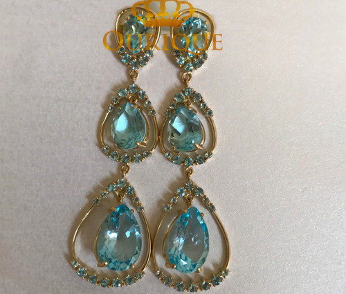 par de brincos de ouro 18k 750 com topázio azul luxo