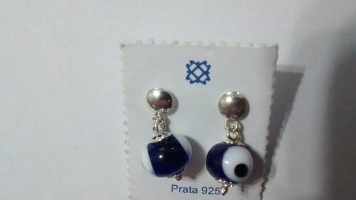 par de brincos olho grego em prata e acrílico