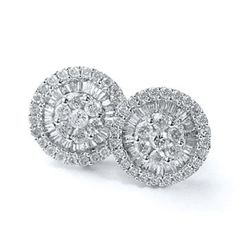 Par De Brincos Pizza Ouro Branco Com Diamantes - R  2.800,00 em ... df2f600caa
