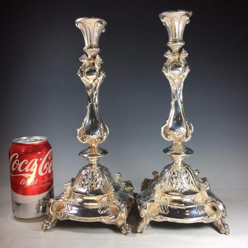 par de candelabros alemanes wmf de bronce plateado