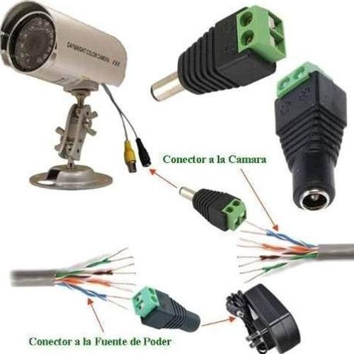 par de conectores para fuente camaras cctv