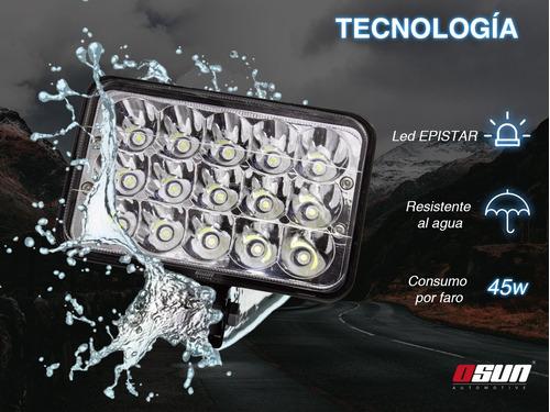 par de faros de led osun® 5 pulgadas con 45w alta intensidad con luz alta y baja en el mismo foco autos, caribe, jeep