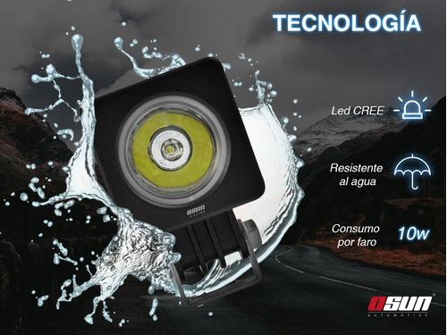 par de faros led osun® diseño redondo o cuadrado de alta intensidad de 10w con lupa 100% metal + bases offroad jeep 4x4