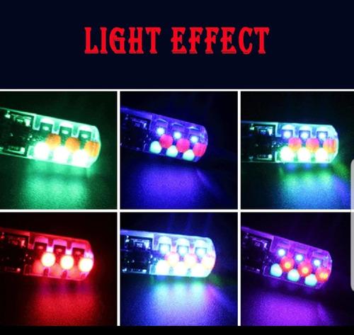 par de focos t10 led  pellizco control multicolor