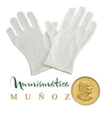 par de guantes de algodon para manipular monedas talla stand