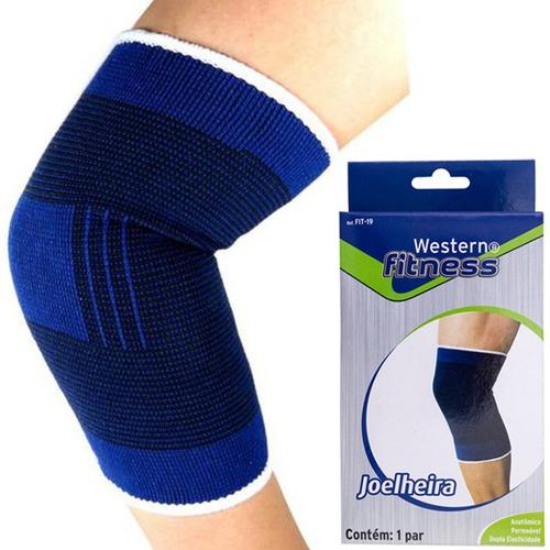 par de joelheira elástica protetor muscular joelho esporte