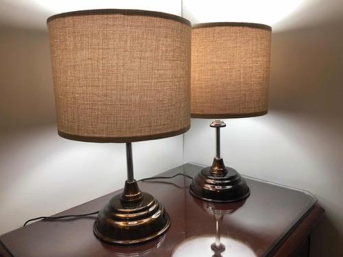 par de lámparas de acero con leds para buró modelo #2 gold