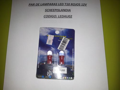 par de lamparas led t10 rojos 12v ledau02