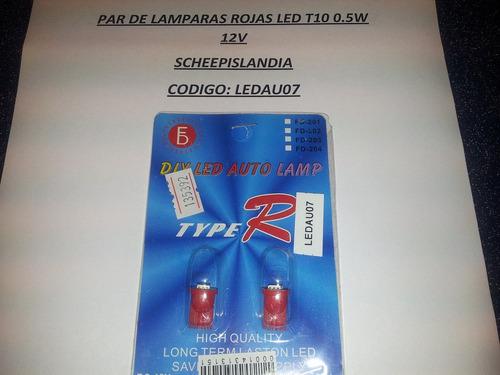 par de lamparas rojas led t10 0.5w 12v ledau07