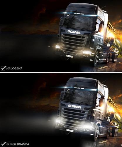 par de lâmpada h4 caminhão onibus super branca 100w 24v ice