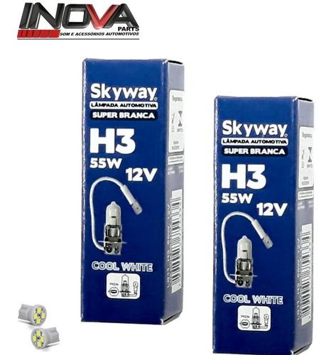 par de lâmpadas h3 55w faról milha super branca selo inmetro