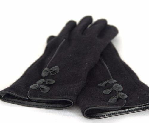 par de luvas feminina adultos cor preta com laçinhos