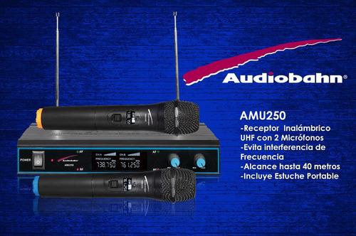 par de microfonos inalambricos uhf hasta 80m audiobahn