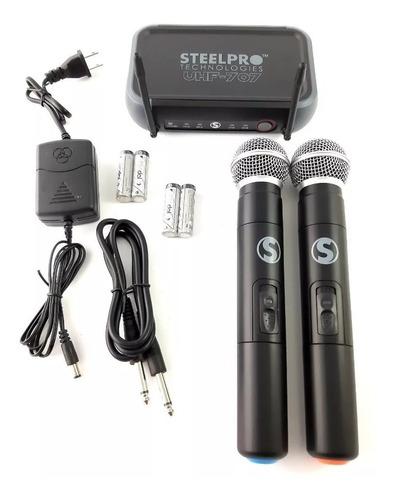 par de microfonos inalambricos uhf steelpro uhf-707a