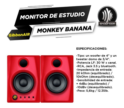 par de monitores monkey banana gibbon air 4 bluetooth