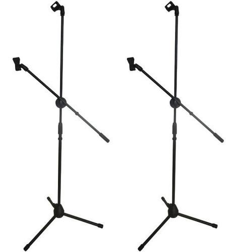 par de pedestal atril stand micrófono base con boom tripie